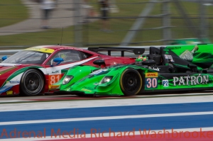 Stephen Wyatt (AUS) / Michele Rugolo (ITA) / Andrea Bertolini (ITA) drivers of car #81 LMGTE AM AF Corse (ITA) Ferrari F458 Italia Scott Sharp (USA) / Ryan Dalziel (GBR) / Ed Brown (USA) drivers of car #30 LMP2 EXTREME SPEED MOTORSPORTS (USA) HPD ARX 03B