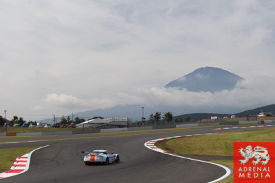 Paul Dalla Lana (CAN) / Pedro Lamy (PRT) / Christoffer Nygaard (DNK) / drivers of car #98 LMGTE AM Aston Martin Racing (GBR) Aston Martin Vantage V8 Free Practice 1 with Mount Fuji background at Fuji Speedway - Shizuoka Prefecture - Japan