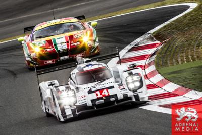Romain Dumas (FRA) / Neel Jani (CHE) / Marc Lieb (DEU) / drivers of car #14 LMP1 Porsche Team (DEU) Porsche 919 Hybrid  Free Practice 2 at Fuji Speedway - Shizuoka Prefecture - Japan