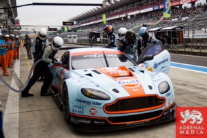 Garage Ambience qualifying Kristian Poulsen (DNK) / David Heinemeir Hansson (DNK) / drivers of car #95 LMGTE AM Aston Martin Racing (GBR) Aston Martin Vantage V8 LMGTE AM Aston Martin Racing (GBR) Aston Martin Vantage V8 at Fuji Speedway - Shizuoka Prefec