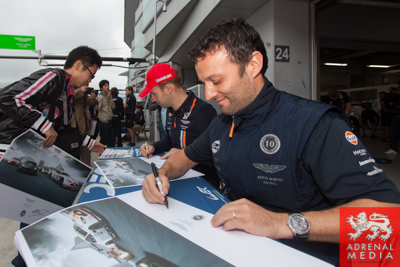 Darren Turner (FRA) / Stefan Mucke (DEU) / drivers of car #97 LMGTE PRO Aston Martin Racing (GBR) Aston Martin Vantage V8 Autograph session for the fans to meet the drivers at Fuji Speedway - Shizuoka Prefecture - Japan