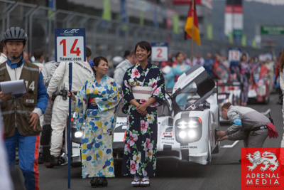 Romain Dumas (FRA) / Neel Jani (CHE) / Marc Lieb (DEU) / drivers of car #14 LMP1 Porsche Team (DEU) Porsche 919 Hybrid  Grid Walk at Fuji Speedway - Shizuoka Prefecture - Japan