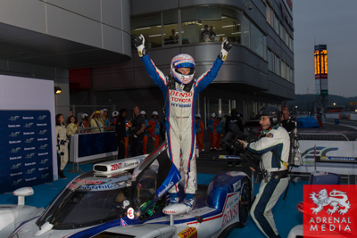 Anthony Davidson (GBR) celebrates winning the race driver of car #8 LMP1 Toyota Racing (JPN) Toyota TS 040 - Hybrid  at Fuji Speedway - Shizuoka Prefecture - Japan