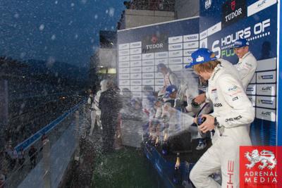 LMP1-H podium Anthony Davidson (GBR) / Nicolas Lapierre (FRA) / Sebastien Buemi (CHE) / drivers of car #8 LMP1 Toyota Racing (JPN) Toyota TS 040 - Hybrid , Alexander Wurz (AUT) / Stephane Sarrazin (FRA) / Kazuki Nakajima (JPN) / drivers of car #7 LMP1 Toy