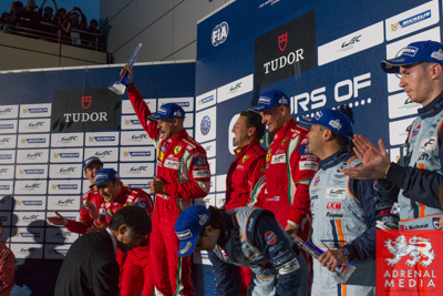 LMGTE Pro podium  Gianmaria Bruni (ITA) / Toni Vilander (FIN) / drivers of car #51 LMGTE PRO AF Corse (ITA) Ferrari F458 Italia, Davide Rigon (ITA) / James Calado (GBR) / drivers of car #71 LMGTE PRO AF Corse (ITA) Ferrari F458 Italia, Alex MacDowall (GBR