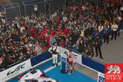 Fans and Team members celebrate with the drivers at Fuji Speedway - Shizuoka Prefecture - Japan