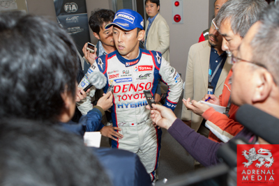 Kazuki Nakajima Toyota is interviewed after the race after coming 2nd overall  Fuji Speedway - Shizuoka Prefecture - Japan