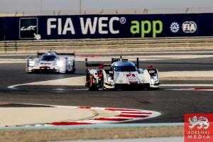 FIA WEC Banner Marcel Fassler (CHE) / Andre Lotterer (DEU) / Benoit Treluyer (FRA) / Car #2 LMP1 Audi Sport Team Joest (DEU) Audi R18 e-tron quattro - 6 Hours of Bahrain at Bahrain International Circuit (BIC) - Sakhir - Kingdom of Bahrain