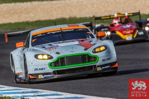 Roald Goethe (DEU) / Stuart Hall (GBR) / Daniel Brown (GBR) drivers of car #85 GULF RACING UK  (GBR) Aston Martin Vantage V8 Race at Circuito Estoril - Cascais - Portugal