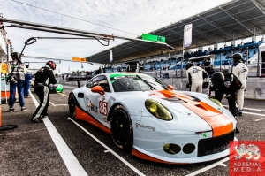 Michael Wainwright (GBR) / Adam Carroll (GBR) / Ben Barker (GBR) drivers of car #86 GULF RACING UK  (GBR) Porsche 911 RSR Qualifying 1 LMGTE and GTC at Circuito Estoril - Cascais - Portugal