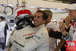 Neel Jani (CHE) celebrates with Romain Dumas (FRA) after achieving pole Qualifying - LMP1 & LMP2 - 6 Hours of Shanghai at Shanghai International Circuit - Shanghai - China