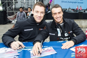 Roman Rusinov (RUS) / Olivier Pla (FRA) / Julien Canal (FRA) / Car #26 LMP2 G-Drive Racing (RUS) Morgan-Nissan Autograph Session - 6 Hours of Shanghai at Shanghai International Circuit - Shanghai - China
