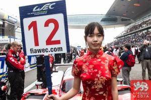 Grid Girl Nicolas Prost (FRA) / Nick Heidfeld (DEU) / Mathias Beche (CHE) / Car #12 LMP1 Rebellion Racing (CHE) Rebellion Toyota R-One Race - 6 Hours of Shanghai at Shanghai International Circuit - Shanghai - China