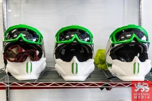 Mechanics safety helmets pit lane at Circuito Estoril - Cascais - Portugal