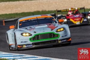Roald Goethe (DEU) / Stuart Hall (GBR) / Daniel Brown (GBR) drivers of car #85 GULF RACING UK  (GBR) Aston Martin Vantage V8 Race at Circuito Estoril - Cascais - Portugal