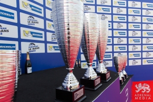 Shots of the Trophiesl and Champagne on the podium at Circuito Estoril - Cascais - Portugal