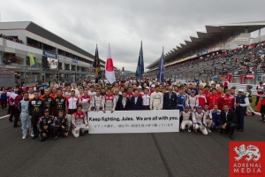 Drivers Line up with FIAWEC delegates supporting F1 driver Jules Forza Grid Walk at Fuji Speedway - Shizuoka Prefecture - Japan