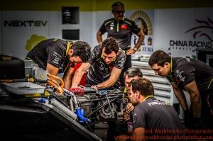 NEXTEV TCR Formula E Team garage FormulaE Battersea, London Round 11 2nd Practice Photo: - Richard Washbrooke Photography