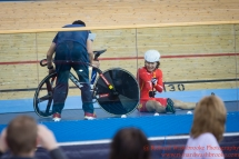 Women's Omnium Final Xiao Ling Luo CHN takes a fall 5th March 2016