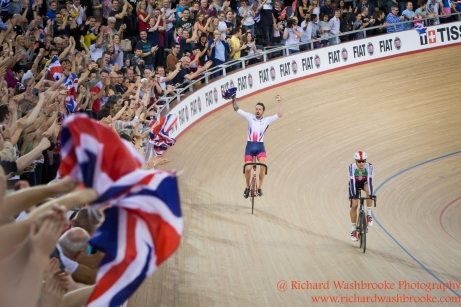 Men's Madison Final Bradley Wiggins GBR celebrates winning the Gold Medal