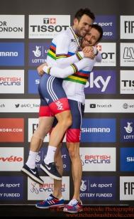 Men's Madison Final Bradley Wiggins GBR celebrates with Mark Cavendish after winning the Gold Medal