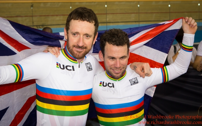 Men's Madison Final Bradley Wiggins GBR celebrates with Mark Cavendish after winning the Gold Medal