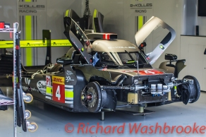 Simon Trummer (CHE) / Oliver Webb (GBR) / James Rossiter (GBR) driving the #4 LMP1 Bykolles Racing Team CLM P1/01 - AER in the garage FIA WEC 6H Silverstone - Friday 15th April 2016