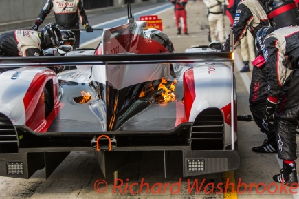Anthony Davidson (GBR) / Sebastien Buemi (CHE) / Kazuki Nakajima (JPN) driving the LMP1 Toyota Gazzo Racing Toyota TS050 - Hybrid catches on fire after a re-fuel FIA WEC 6H Silverstone - Sunday 17th April 2016