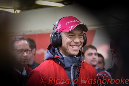 Andre Lotterer (DEU) driving the LMP1 Audi Sport Team Joest Audi R18 Hybrid, enjoys the moment he know he has won the race FIA WEC 6H Silverstone - Sunday 17th April 2016
