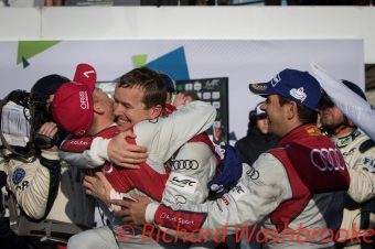 Marcel Fassler (CHE) driving the LMP1 Audi Sport Team Joest Audi R18 Hybrid celebrates after winning the race FIA WEC 6H Silverstone - Sunday 17th April 2016