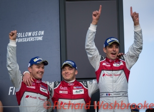 Marcel Fassler (CHE) / Andre Lotterer (DEU) / Benoit Treluyer (FRA) driving the LMP1 Audi Sport Team Joest Audi R18 Hybrid celebrate winning the race FIA WEC 6H Silverstone - Sunday 17th April 2016