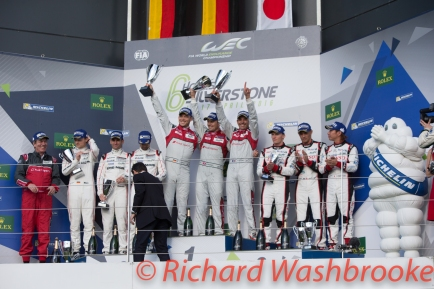 Overall Podium First Marcel Fassler (CHE) / Andre Lotterer (DEU) / Benoit Treluyer (FRA) driving the LMP1 Audi Sport Team Joest Audi R18 Hybrid Second Romain Dumas (FRA) / Neel Jani (CHE) / Marc Lieb (DEU) driving the #2 LMP1 Porsche Team (DEU) Porsche 919 Hybrid Third Stephane Sarrazin (FRA) / Mike Conway (GBR) / Kamui Kobayashi (JPN) driving the LMP1 Toyota Gazzo Racing Toyota TS050 - Hybrid FIA WEC 6H Silverstone - Sunday 17th April 2016