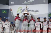 Winners of the Tourist Trophy Marcel Fassler (CHE) / Andre Lotterer (DEU) / Benoit Treluyer (FRA) driving the LMP1 Audi Sport Team Joest Audi R18 Hybrid FIA WEC 6H Silverstone - Sunday 17th April 2016