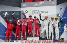 LMGTE Pro Podium First Davide Rigon (ITA) / Sam Bird (GBR) / driving the LMGTE Pro AF Corse Ferrari 488 GTE Second Gianmaria Bruni (ITA) / James Calado (GBR) driving the LMGTE Pro AF Corse Ferrari 488 GTE Third Nicki Thiim (DNK) / Marco Sorensen (DNK) / Darren Turner (GBR) driving the LMGTE Pro Aston Martin Racing Aston Martin Vantage FIA WEC 6H Silverstone - Sunday 17th April 2016
