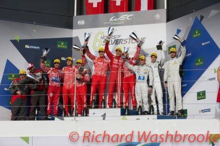 LMP1 Private Podium First Matheo Tuscher (CHE) / Dominik Kraihamer (AUT) / Alexandre Imperatori )CHE) driving the LMP1 Rebellion Racing Rebellion R-One - AER Second Nicolas Prost (FRA) / Nelson Piquet (BRA) / Nick Heidfeld (DEU) driving the LMP1 Rebellion Racing Rebellion R-One - AER Third Simon Trummer (CHE) / Oliver Webb (GBR) / James Rossiter (GBR) driving the #4 LMP1 Bykolles Racing Team CLM P1/01 - AER FIA WEC 6H Silverstone - Sunday 17th April 2016